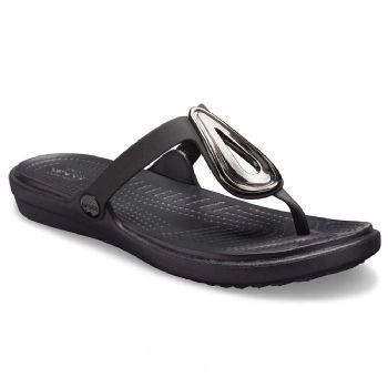 Crocs Womens Sanrah Beveled Flat Flip